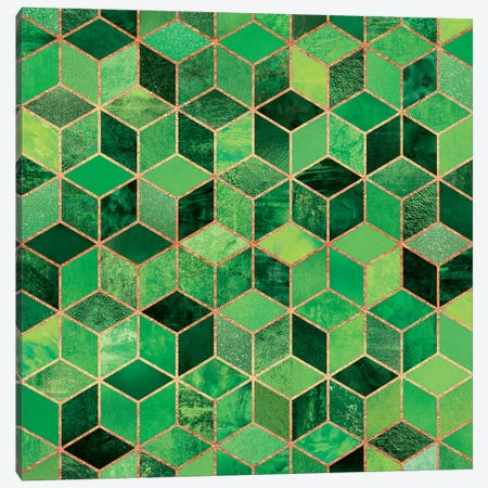 Green Cubes Canvas Print #ELF141} by Elisabeth Fredriksson Canvas Wall Art