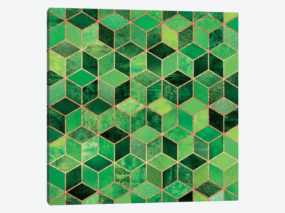 Green Cubes 1-piece Canvas Art Print