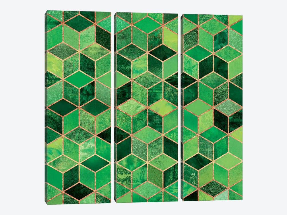Green Cubes 3-piece Art Print