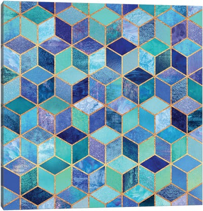 Blue Cubes Canvas Art Print