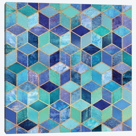 Blue Cubes Canvas Print #ELF14} by Elisabeth Fredriksson Art Print