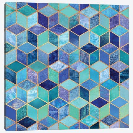 Blue Cubes Canvas Print #ELF14} by Elisabeth Fredriksson Art Print