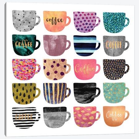 Pretty Coffee Cups Canvas Print #ELF166} by Elisabeth Fredriksson Canvas Art Print