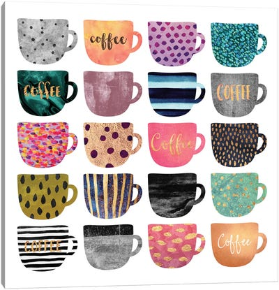 Pretty Coffee Cups Canvas Art Print