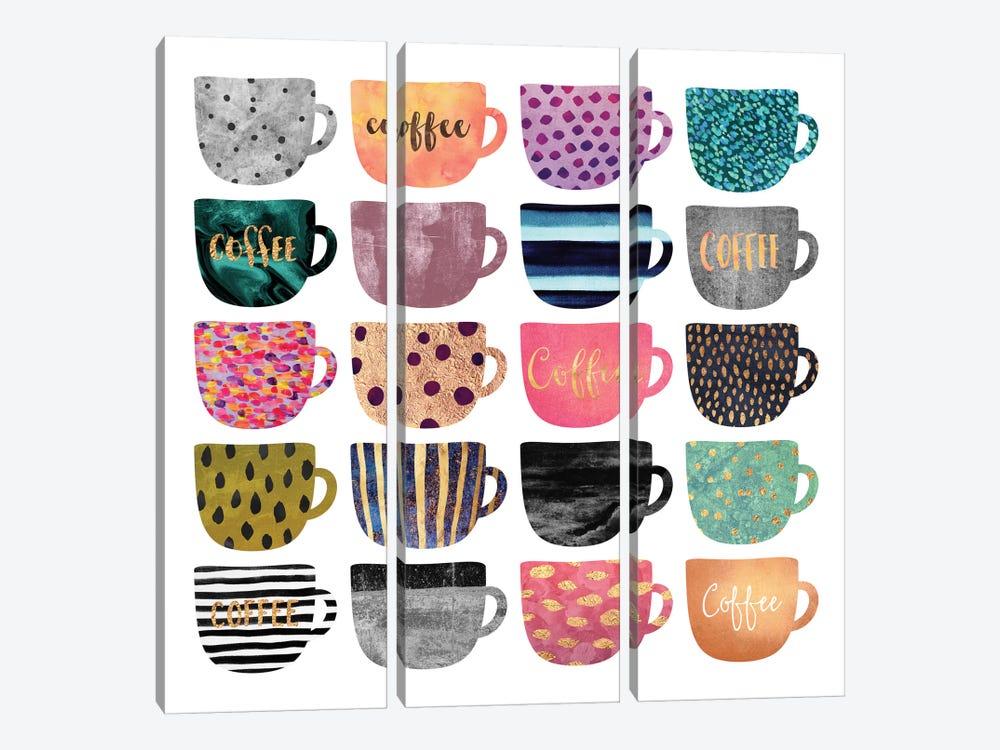 Pretty Coffee Cups by Elisabeth Fredriksson 3-piece Canvas Wall Art