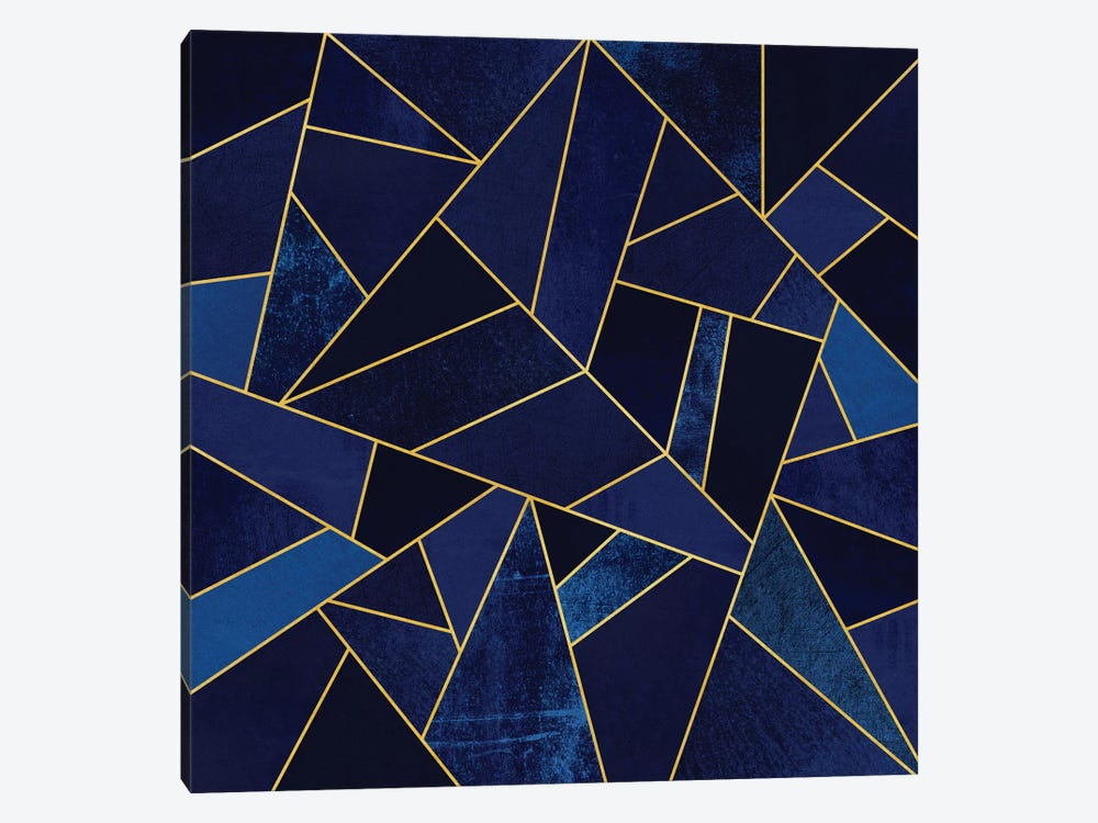 Blue Stone With Gold Lines by Elisabeth Fredriksson 1-piece Canvas Art