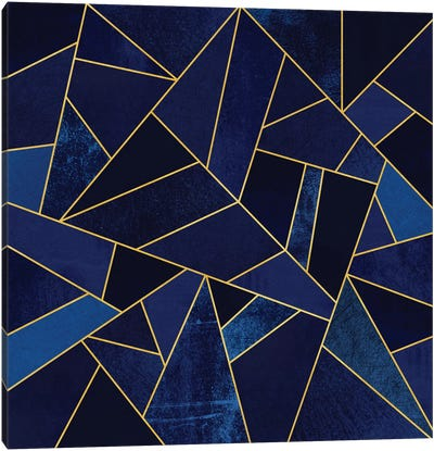 Blue Stone With Gold Lines Canvas Art Print