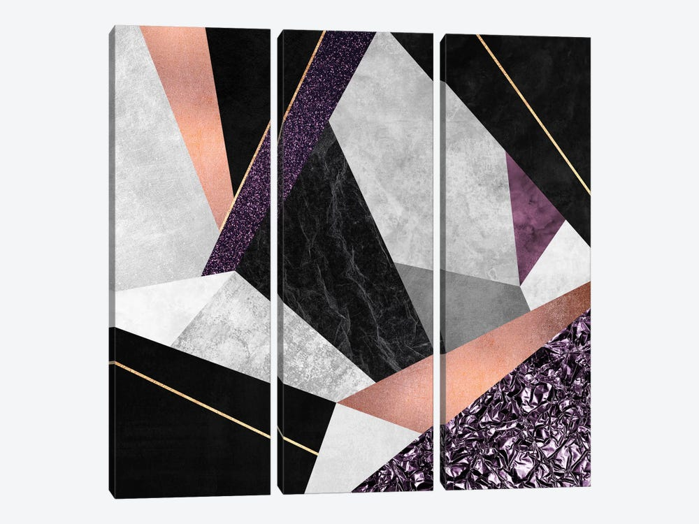 Purple Geo by Elisabeth Fredriksson 3-piece Art Print
