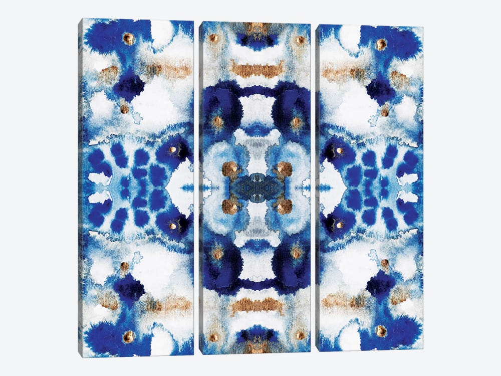 Symmetric Blue by Elisabeth Fredriksson 3-piece Canvas Art