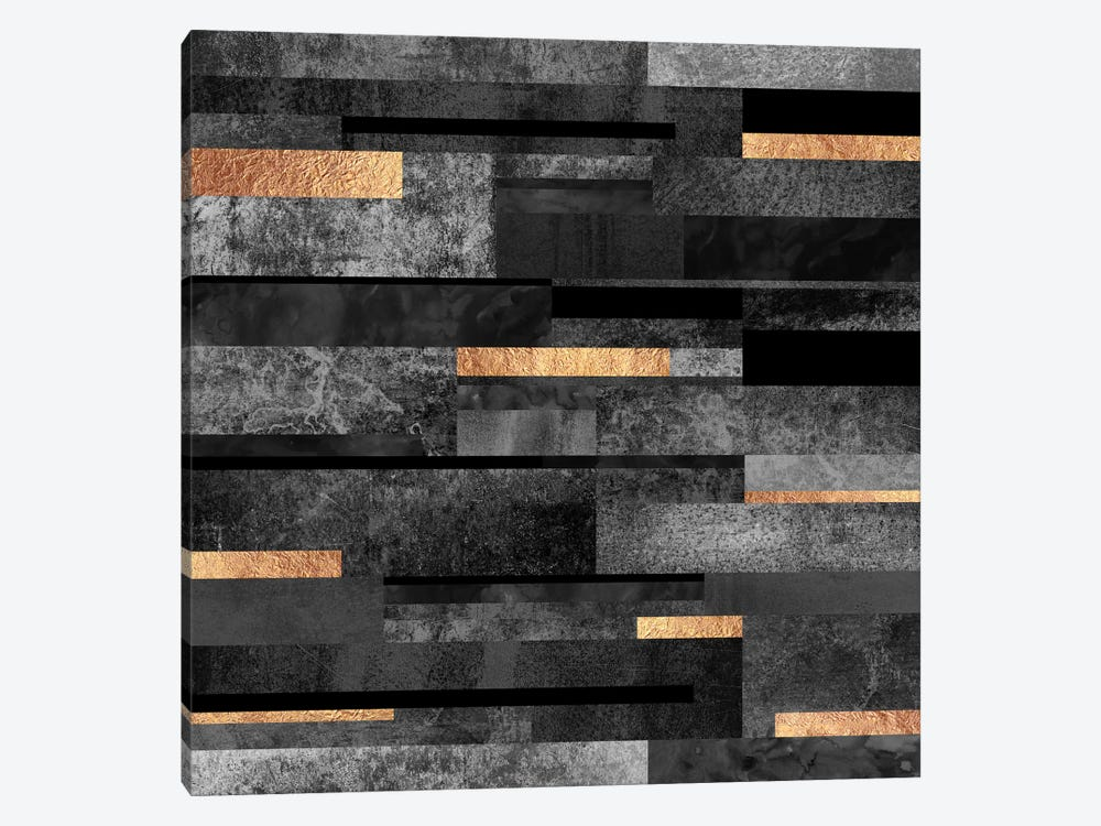 Urban Black And Gold 1-piece Canvas Wall Art