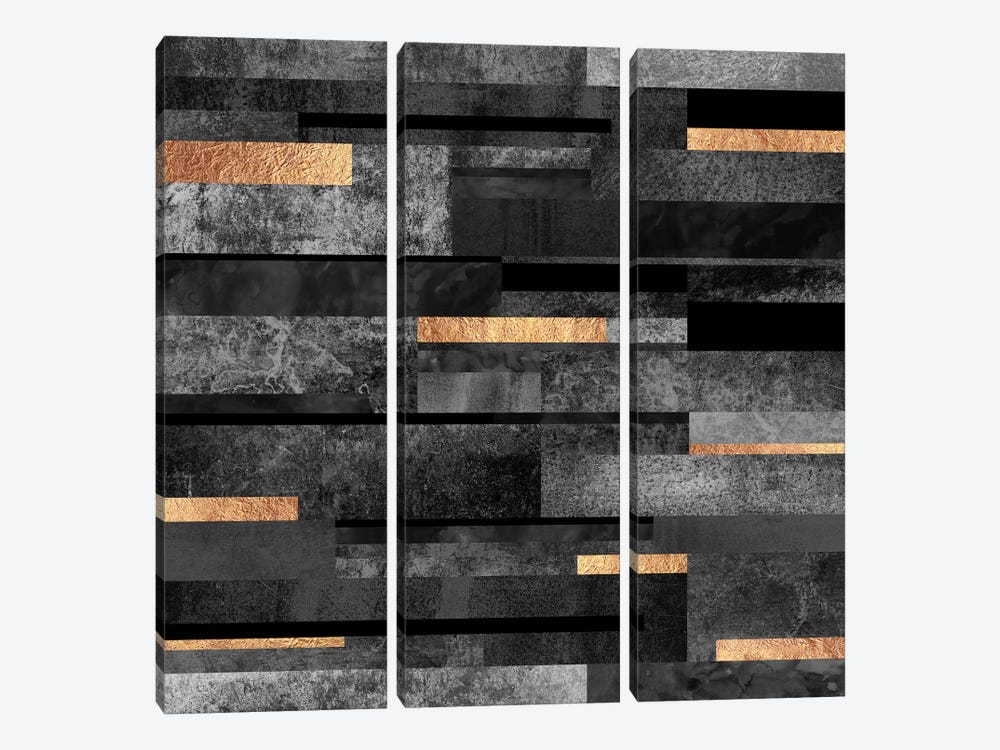 Urban Black And Gold by Elisabeth Fredriksson 3-piece Canvas Art