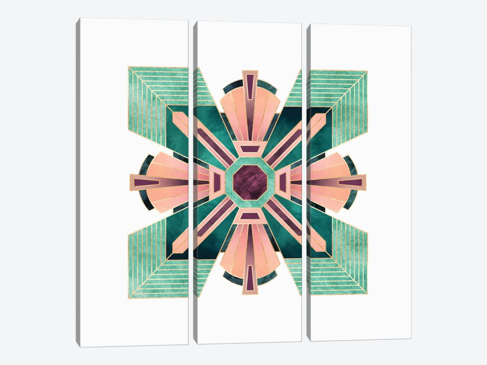 Art Deco Flower by Elisabeth Fredriksson 3-piece Art Print