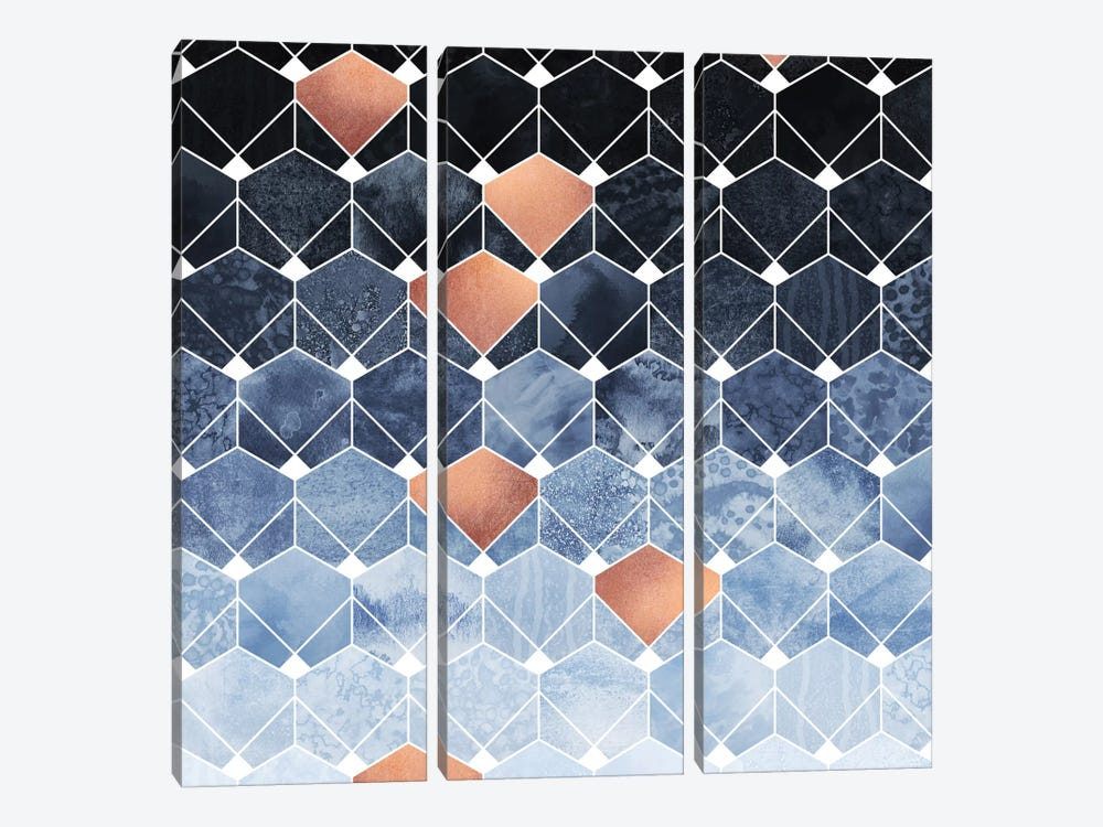Copper Diamonds by Elisabeth Fredriksson 3-piece Canvas Art Print