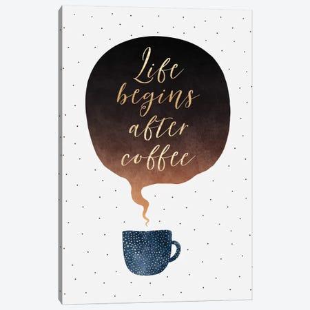 Life Begins After Coffee Canvas Print #ELF197} by Elisabeth Fredriksson Canvas Art