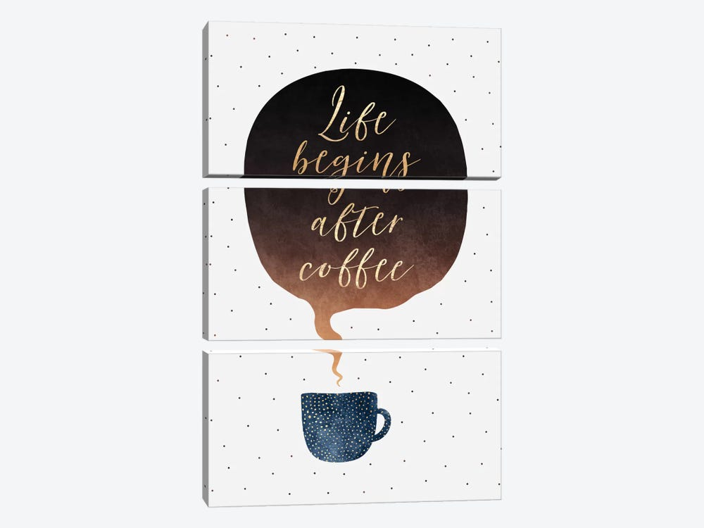Life Begins After Coffee by Elisabeth Fredriksson 3-piece Canvas Art