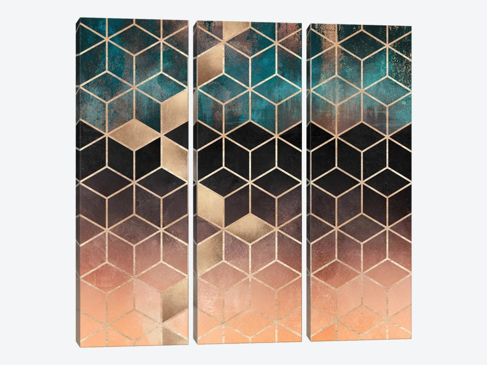 Ombre Dream Cubes by Elisabeth Fredriksson 3-piece Canvas Wall Art