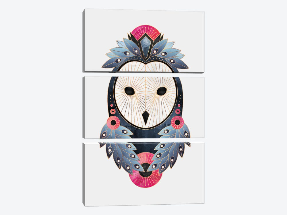 Owl II by Elisabeth Fredriksson 3-piece Canvas Wall Art