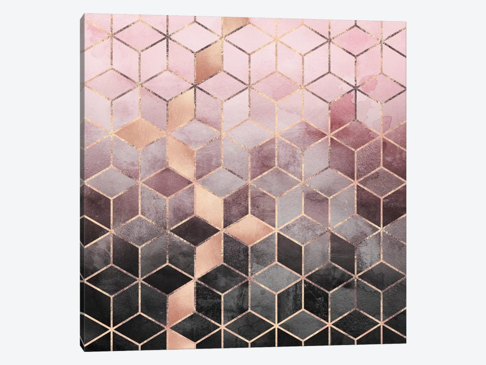 Pink And Grey Cubes by Elisabeth Fredriksson 1-piece Canvas Art Print