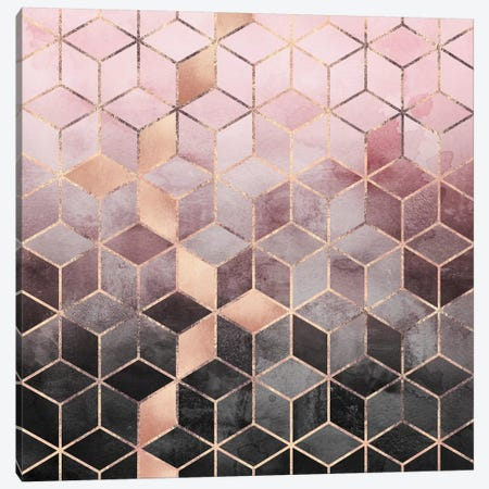 Pink And Grey Cubes Canvas Print #ELF203} by Elisabeth Fredriksson Art Print
