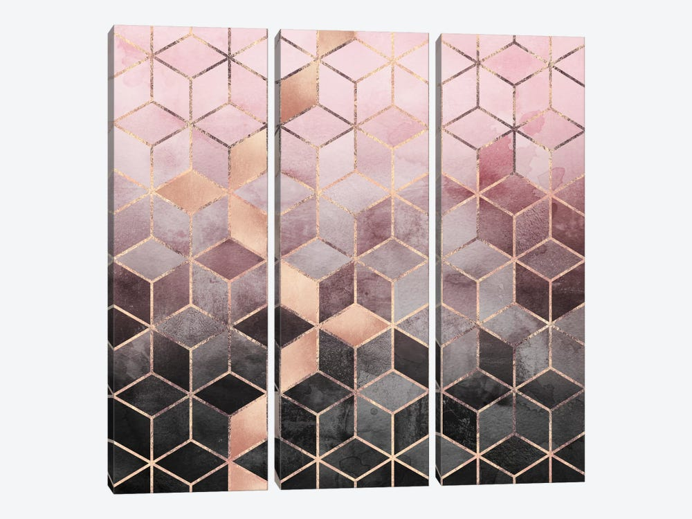 Pink And Grey Cubes by Elisabeth Fredriksson 3-piece Art Print