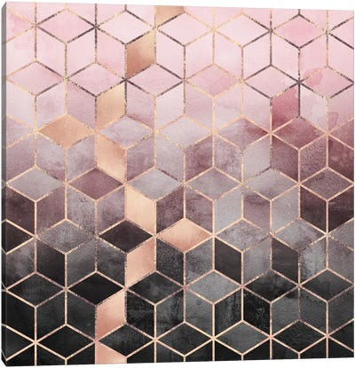 Pink And Grey Cubes Canvas Art Print