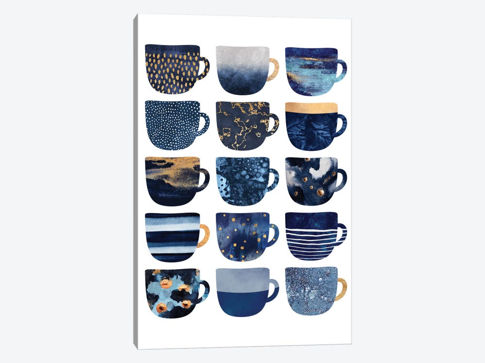Pretty Blue Coffee Cups I by Elisabeth Fredriksson 1-piece Canvas Artwork