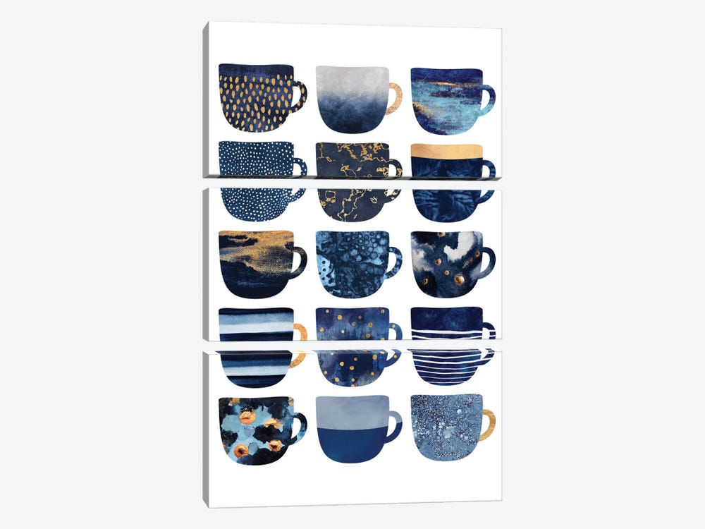 Pretty Blue Coffee Cups I by Elisabeth Fredriksson 3-piece Canvas Art