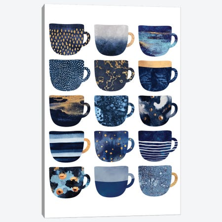 Pretty Blue Coffee Cups I Canvas Print #ELF204} by Elisabeth Fredriksson Canvas Wall Art