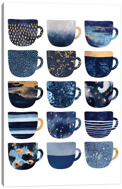 Pretty Blue Coffee Cups Canvas Print #ELF204