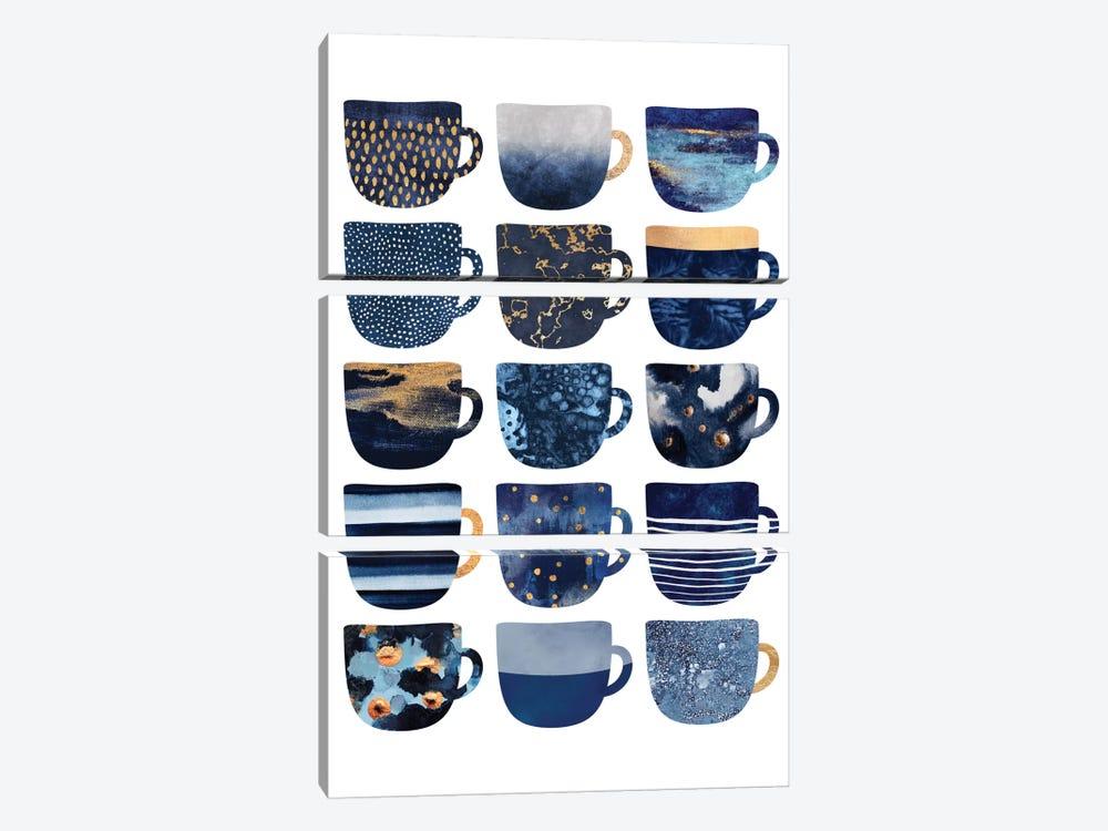 Pretty Blue Coffee Cups I by Elisabeth Fredriksson 3-piece Canvas Art