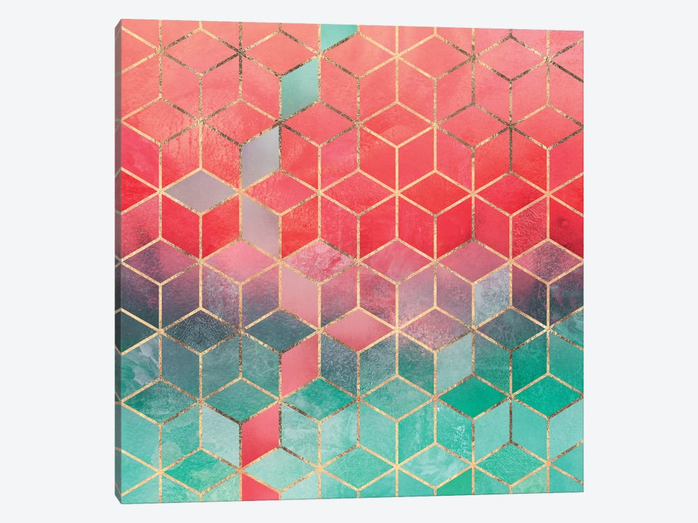 Rose And Turquoise Cubes by Elisabeth Fredriksson 1-piece Canvas Wall Art