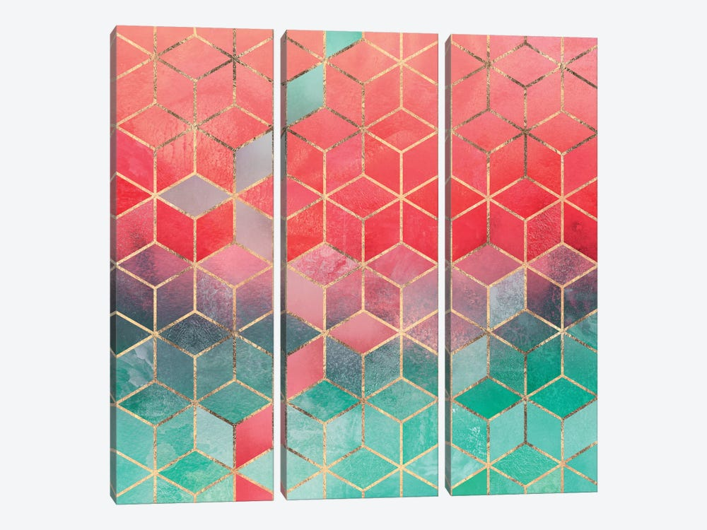 Rose And Turquoise Cubes by Elisabeth Fredriksson 3-piece Canvas Artwork