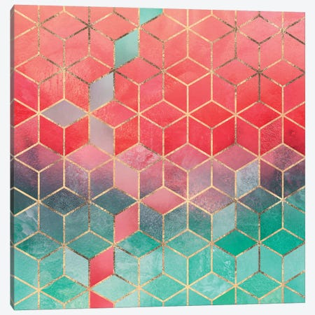 Rose And Turquoise Cubes Canvas Print #ELF206} by Elisabeth Fredriksson Canvas Artwork