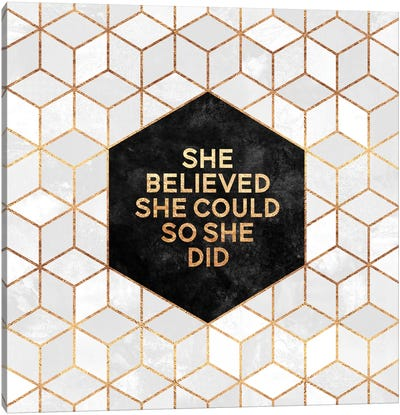 She Believed She Could So She Did Canvas Print #ELF208