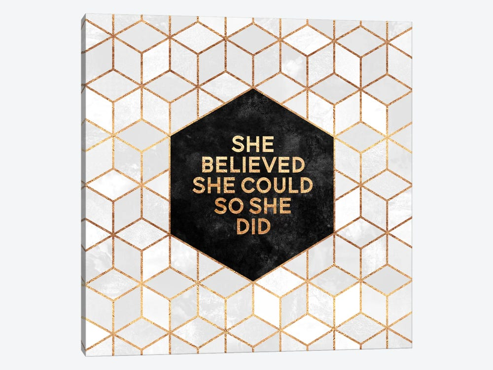 She Believed Could So Did By Elisabeth Fredriksson 1 Piece Canvas Wall Art