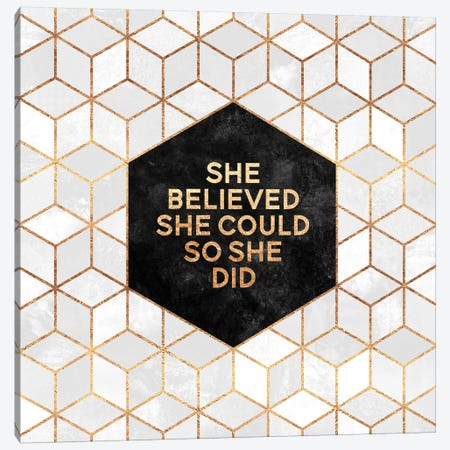 She Believed She Could So She Did Canvas Print #ELF208} by Elisabeth Fredriksson Canvas Print