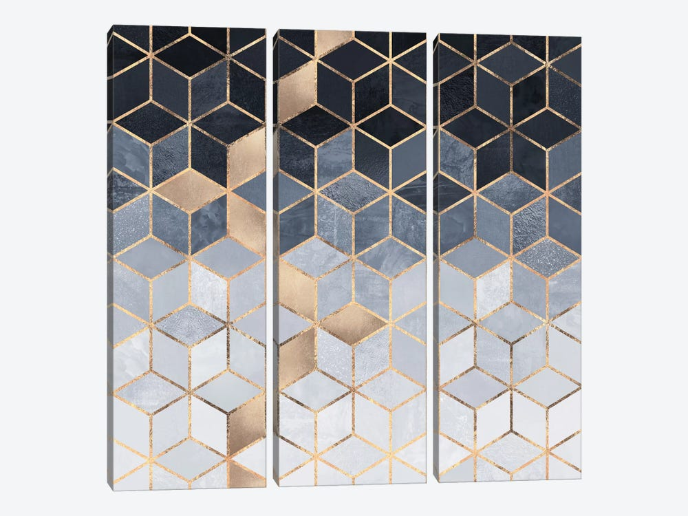 Soft Blue Cubes by Elisabeth Fredriksson 3-piece Canvas Print