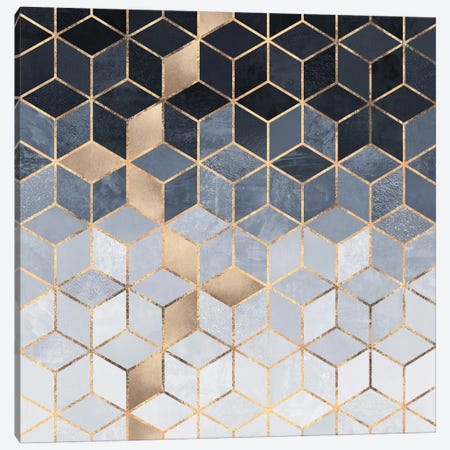 Soft Blue Cubes Canvas Print #ELF209} by Elisabeth Fredriksson Canvas Print