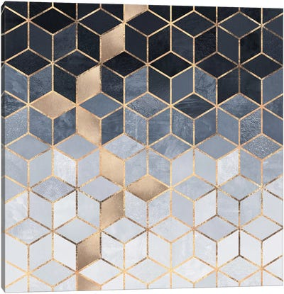 Soft Blue Cubes Canvas Art Print