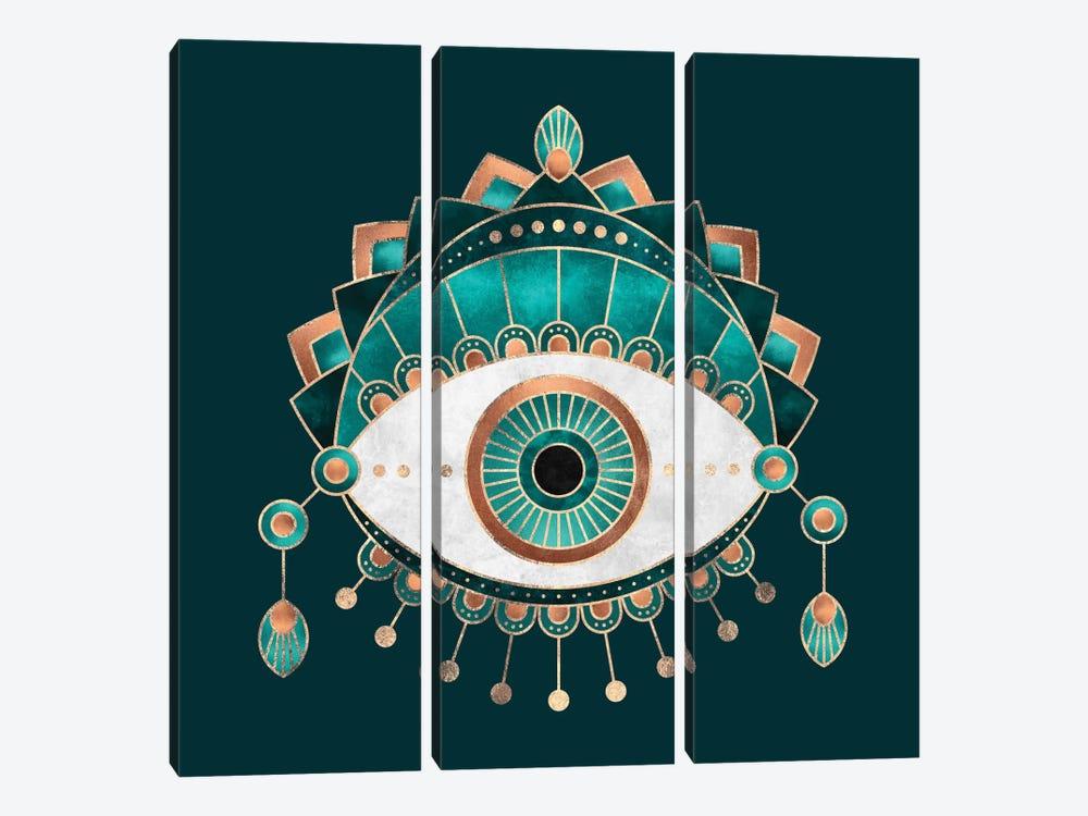 Teal Eye by Elisabeth Fredriksson 3-piece Canvas Wall Art