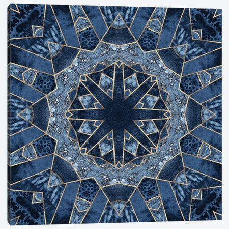 Geometric Blue Mandala Canvas Print #ELF219} by Elisabeth Fredriksson Canvas Art