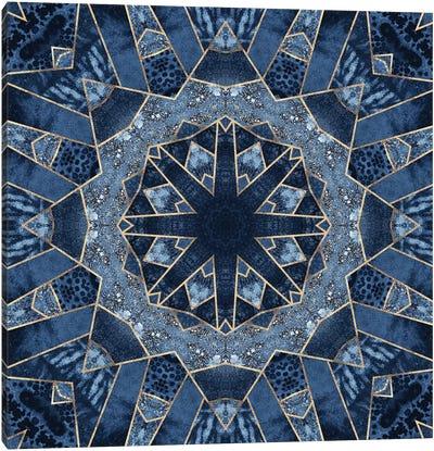 Geometric Blue Mandala Canvas Art Print