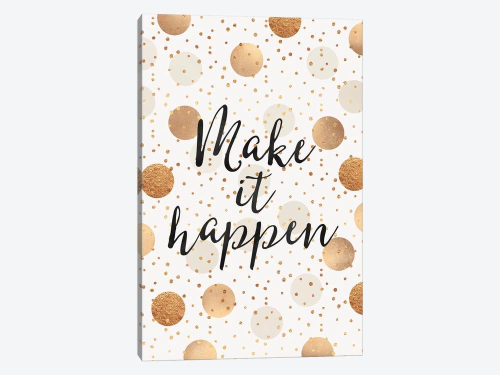 Make It Happen - Gold Dots by Elisabeth Fredriksson 1-piece Canvas Print