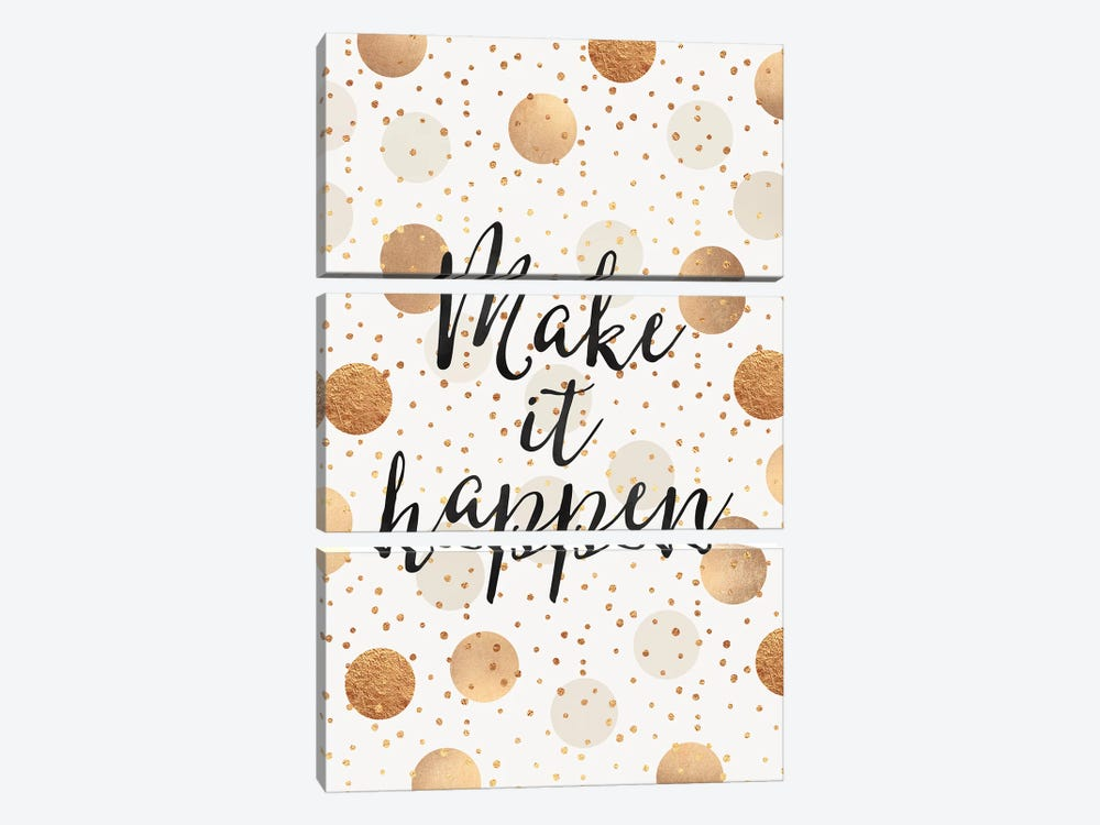 Make It Happen - Gold Dots by Elisabeth Fredriksson 3-piece Art Print