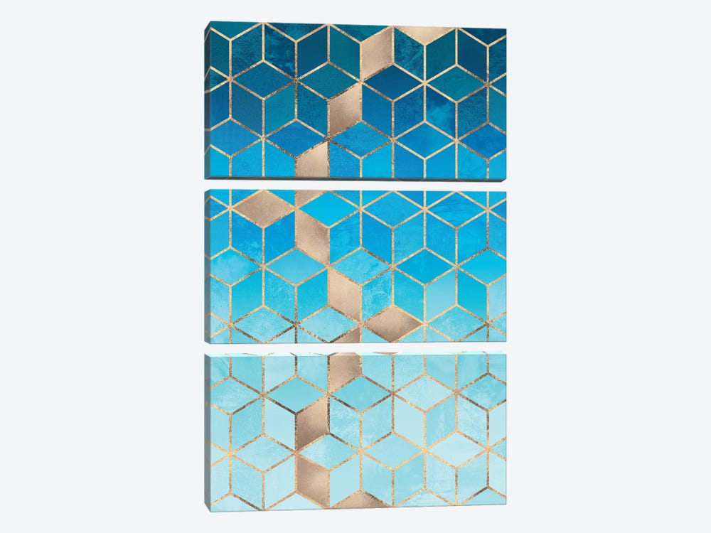Sea And Sky Cubes by Elisabeth Fredriksson 3-piece Art Print
