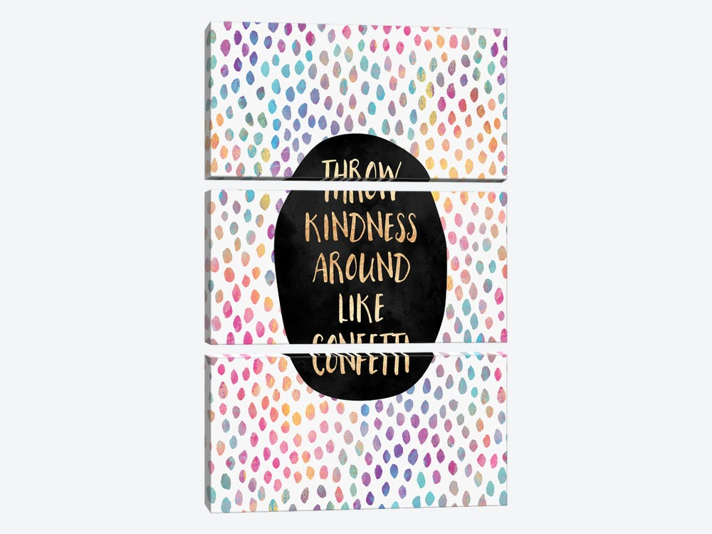 Throw Kindness Around Like Confetti by Elisabeth Fredriksson 3-piece Canvas Art