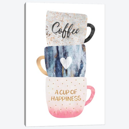 A Cup Of Happiness Canvas Print #ELF227} by Elisabeth Fredriksson Canvas Wall Art