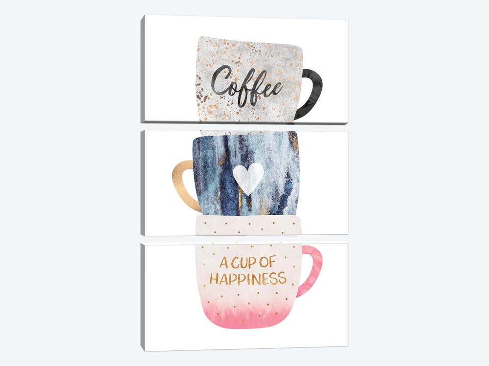 A Cup Of Happiness by Elisabeth Fredriksson 3-piece Canvas Art Print