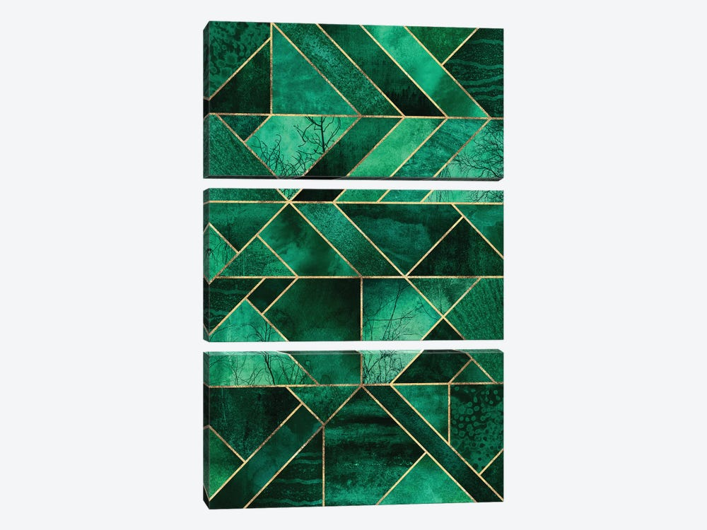 Abstract Nature - Emerald Green by Elisabeth Fredriksson 3-piece Canvas Art Print