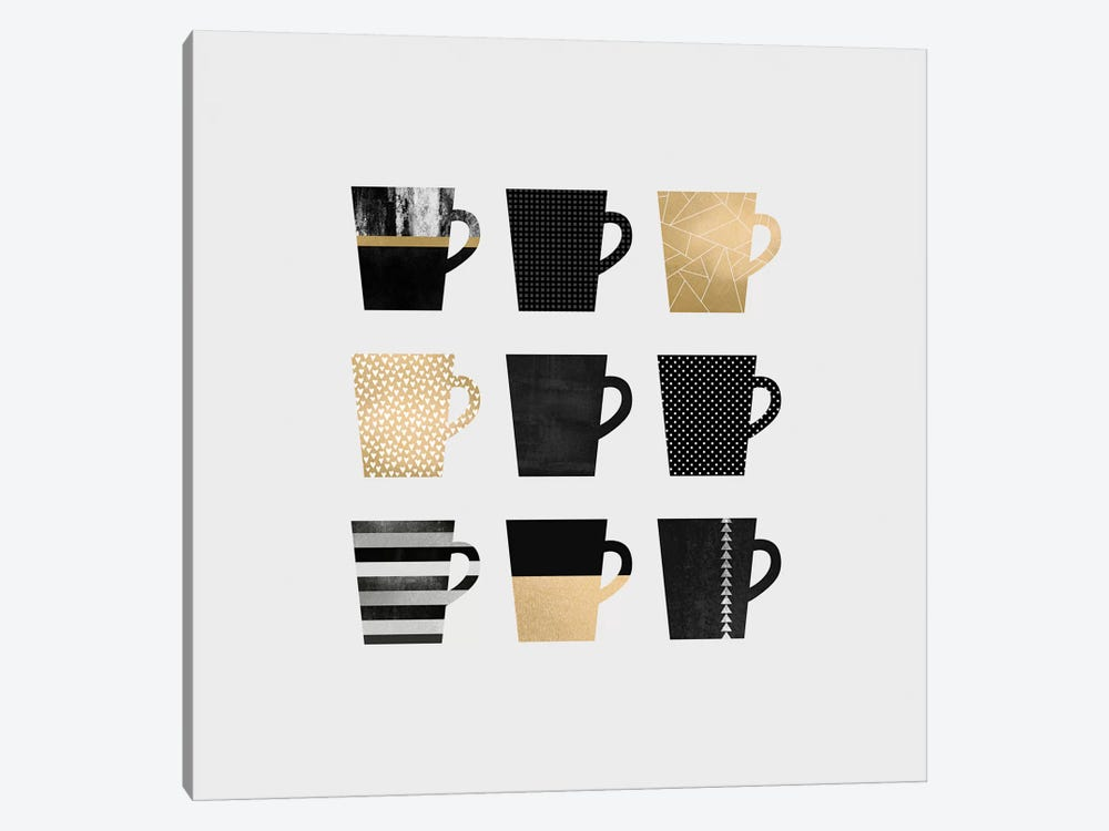 Coffee Mugs by Elisabeth Fredriksson 1-piece Canvas Print